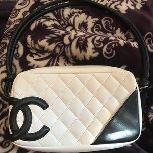 Chanel white and black purse shoulder purse